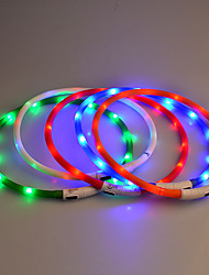 cheap -Dog Collar LED Lights Safety Solid Colored Rubber Red Blue Pink