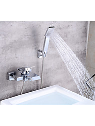 cheap -Bathtub Faucet - Contemporary Chrome Centerset Ceramic Valve Bath Shower Mixer Taps / Brass / Single Handle Two Holes