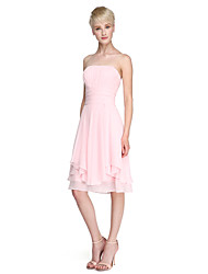 cheap -Ball Gown / A-Line Strapless Knee Length Chiffon Bridesmaid Dress with Ruched / Draping / Open Back