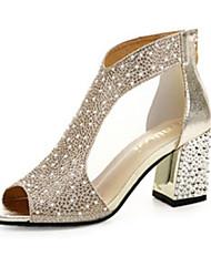 cheap -Women's Sandals Crystal Sandals Flat Heel PU(Polyurethane) Comfort Spring Gold / Silver / EU39