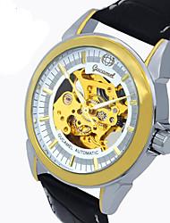 Недорогие -Муж. Модные часы Кварцевый Кожа Черный Аналоговый На каждый день - Черный и золотой Золото / Белый