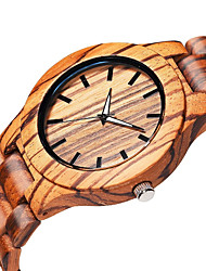 cheap -Men's Wrist Watch Quartz Wood Beige Wooden Analog Elegant