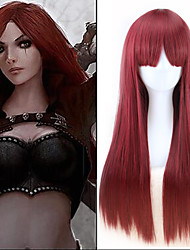 cheap -30 inches wine red long straight game lol league of legends katarina cosplay harajuku womens wigs fashion party plucas Halloween