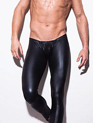 cheap -Men's Polyester Patent Leather Sexy Long Johns Solid Colored Mid Waist