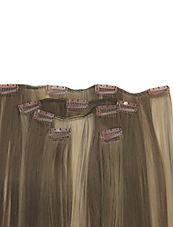 cheap -clip in light brown with blonde highlights synthetic 20 hair extensions 5 pieces set hair extension