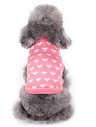 cheap -Cat Dog Sweater Winter Dog Clothes Pink Costume Acrylic Fibers Heart Casual / Daily Fashion XS S M L XL XXL