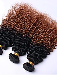 Недорогие -3 Связки Бразильские волосы Кудрявый Кудрявое плетение Натуральные волосы Омбре Омбре Ткет человеческих волос Расширения человеческих волос / Длинные / 8A