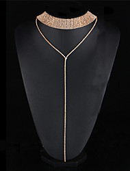 cheap -Women's Crystal Choker Necklace Collar Necklace Ladies Unique Design Punk Gothic Crystal Rhinestone Alloy Gold Silver Necklace Jewelry For Wedding Party Engagement / Statement Necklace / Y Necklace