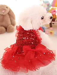 cheap -Cat Dog Dress Dog Clothes Red Pink Costume Fabric Princess S M L