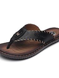 cheap -Men's Formal Shoes Cowhide Summer / Fall Slippers & Flip-Flops Black / Navy Blue