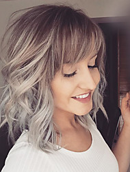 cheap -Human Hair Capless Wigs Human Hair Natural Wave Layered Haircut / Side bangs / Lob / Short Hairstyles 2019 Halle Berry Hairstyles Ombre Hair / Dark Roots / Side Part Blonde Medium Length Machine Made