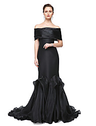 cheap -Mermaid / Trumpet Off Shoulder Sweep / Brush Train Stretch Satin Elegant Formal Evening / Black Tie Gala Dress with Pleats 2020