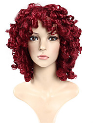 cheap -Synthetic Wig Curly Curly Wig Burgundy Short Burgundy Synthetic Hair Women's African American Wig Rihanna's Style Burgundy