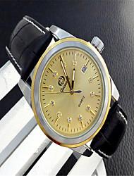 Недорогие -Муж. Модные часы Кварцевый Кожа Черный Аналоговый На каждый день - Золотой Белый
