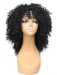 cheap -Synthetic Wig Curly Afro Curly Afro Wig Medium Length Natural Black Synthetic Hair Women's African American Wig Black