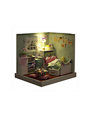 cheap -CUTE ROOM LED Lighting Dollhouse Model Building Kit DIY Furniture House Wooden Classic Kid's Toy Gift