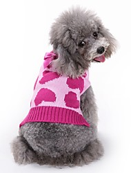 cheap -Cat Dog Coat Sweater Jumpsuit Winter Dog Clothes Rose Costume Acrylic Fibers Heart Casual / Daily Fashion XS S M L
