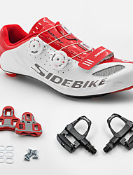 cheap -SIDEBIKE Adults' Cycling Shoes With Pedals & Cleats Road Bike Shoes Carbon Fiber Cushioning Cycling White and Red Men's Cycling Shoes / Breathable Mesh