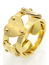 cheap -Men's Women's Couple's Band Ring AAA Cubic Zirconia Gold Silver Rose 18K Gold Plated Titanium Steel Geometric Personalized Geometric Vintage Wedding Party Jewelry Heart