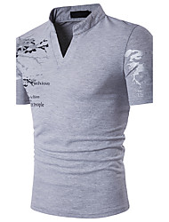 cheap -Men's Daily Going out Weekend Active Cotton Slim Polo - Graphic Print Stand Black / Short Sleeve / Summer