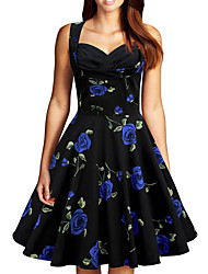 cheap -Women's Plus Size Knee Length Dress Rose A-Line Dress - Sleeveless Floral Print Summer Vintage Going out Floral Blue Purple Red S M L XL