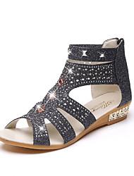 cheap -Women's Sandals Crystal Sandals Low Heel PU(Polyurethane) Comfort Spring Gold / Black / Beige / EU39