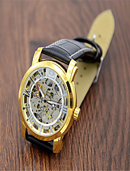 cheap -Men's Wrist Watch Quartz Leather Black Hot Sale Analog Casual Fashion - Gold White
