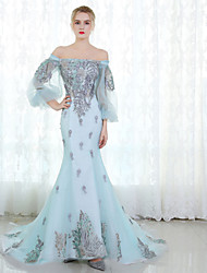 cheap -Mermaid / Trumpet Off Shoulder Sweep / Brush Train Tulle Formal Evening Dress 2020 with Lace