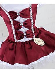 cheap -Dog Dress Dog Clothes Dark Red Red Dark Blue Costume Cotton Princess Casual / Daily Fashion XS S M L XL