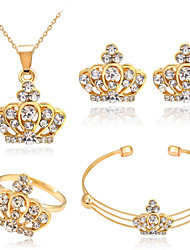 cheap -Women's Crystal Jewelry Set Crown Ladies Basic Rhinestone Earrings Jewelry Gold For Christmas Gifts Wedding Party Special Occasion Anniversary Birthday / Rings