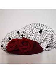 cheap -Flannelette / Net Fascinators / Birdcage Veils with 1 Wedding / Special Occasion / Outdoor Headpiece