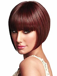 cheap -Synthetic Wig Straight Straight Bob With Bangs Wig Short Red Synthetic Hair Women's With Bangs Red