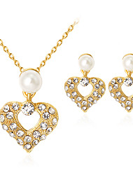 cheap -Women's Pearl Jewelry Set Heart Classic Fashion Imitation Pearl Rhinestone Gold Plated Earrings Jewelry Gold For Party Gift Daily Office & Career