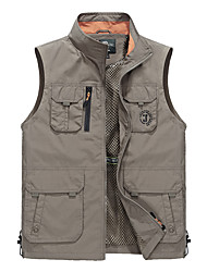 cheap -Men's Hiking Vest / Gilet Fishing Vest Outdoor Thermal / Warm Waterproof Breathable Quick Dry Jacket Top Camping / Hiking Fishing Backcountry Blue Hunter Green Khaki L XL