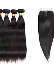 cheap -7a brazilian human virgin hair straight 4 4 lace closure with 4 bundles hair weft