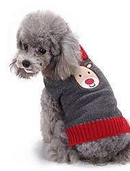 cheap -Cat Dog Sweater Christmas Winter Dog Clothes Gray Costume Acrylic Fibers Reindeer Fashion XXS XS S M L XL