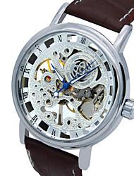 Недорогие -Муж. Модные часы Кварцевый Кожа Коричневый Аналоговый На каждый день - Серебряный