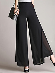 cheap -Women's Plus Size Daily Work Loose Wide Leg Pants - Solid Colored Chiffon Black XXL XXXL XXXXL