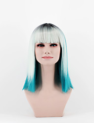 cheap -fashion women s wig the latest gradient silver grass ice blue in the new omber straight bangs new short hair high emperature wire wig