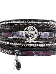 cheap -Leather Bracelet Luxury Bohemian Fashion Leather Bracelet Jewelry Black / Brown For Christmas Gifts Wedding Party Special Occasion Anniversary Birthday / Imitation Diamond / Rhinestone
