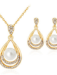 cheap -Women's Pearl Jewelry Set Drop Ladies Classic Fashion Imitation Pearl Rhinestone Gold Plated Earrings Jewelry Gold For Party Gift Daily Office & Career