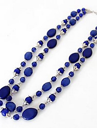 cheap -Women's Synthetic Sapphire Pendant Necklace Statement Necklace Long Double Rosary Chain Flower Aquarius Ladies Fashion Euramerican Synthetic Gemstones Dark Blue Necklace Jewelry For Party Special