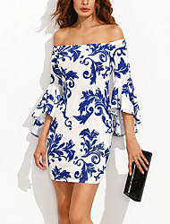 cheap -Women's Off Shoulder Mini Blue Dress All Seasons Party Going out Sheath Flare Cuff Sleeve Off Shoulder Print S M Slim / Cotton
