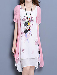 cheap -Women's Plus Size Blushing Pink Blue Dress Summer Daily Loose Floral Print M L Loose