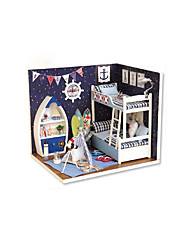cheap -CUTE ROOM LED Lighting Dollhouse DIY Furniture House Wooden Classic Kid's Toy Gift