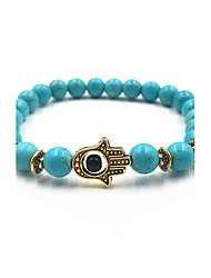 cheap -Men's Women's Turquoise Bead Bracelet Evil Eye Lava Stone Bracelet Jewelry Black / Blue / Dark Red For Gift