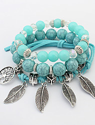cheap -Women's Charm Bracelet Bead Bracelet Stack Leaf Ladies Bohemian Fashion Boho Acrylic Bracelet Jewelry Green / Pink / Light Blue For Party Gift / Resin