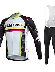 cheap -Malciklo Men's Long Sleeve Cycling Jersey with Bib Tights Stripes Bike Tights Breathable Quick Dry Back Pocket Winter Sports Bamboo-carbon Fiber Coolmax® Elastane Stripes Mountain Bike MTB Road Bike