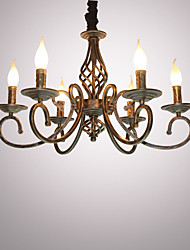 cheap -6-Light 61 cm Candle Style Chandelier Metal Candle-style Painted Finishes Retro 110-120V / 220-240V
