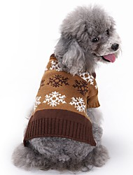 cheap -Cat Dog Coat Sweater Christmas Winter Dog Clothes Gray Coffee Costume Acrylic Fibers Snowflake Fashion XS S M L